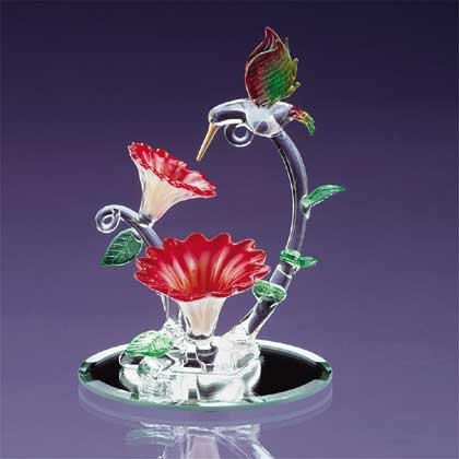 Glass Hummingbird and Flower