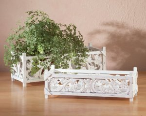 White Rectangular Planters-2 pc.
