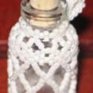 White Beaded Bottle - for glitter, sand, tiny shells ~ SO cute!