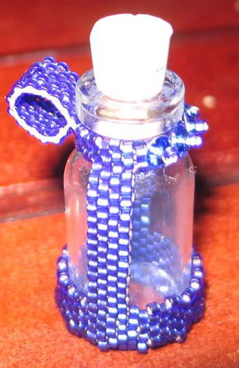 Blue Beaded Bottle ~ Hold your little treasures!