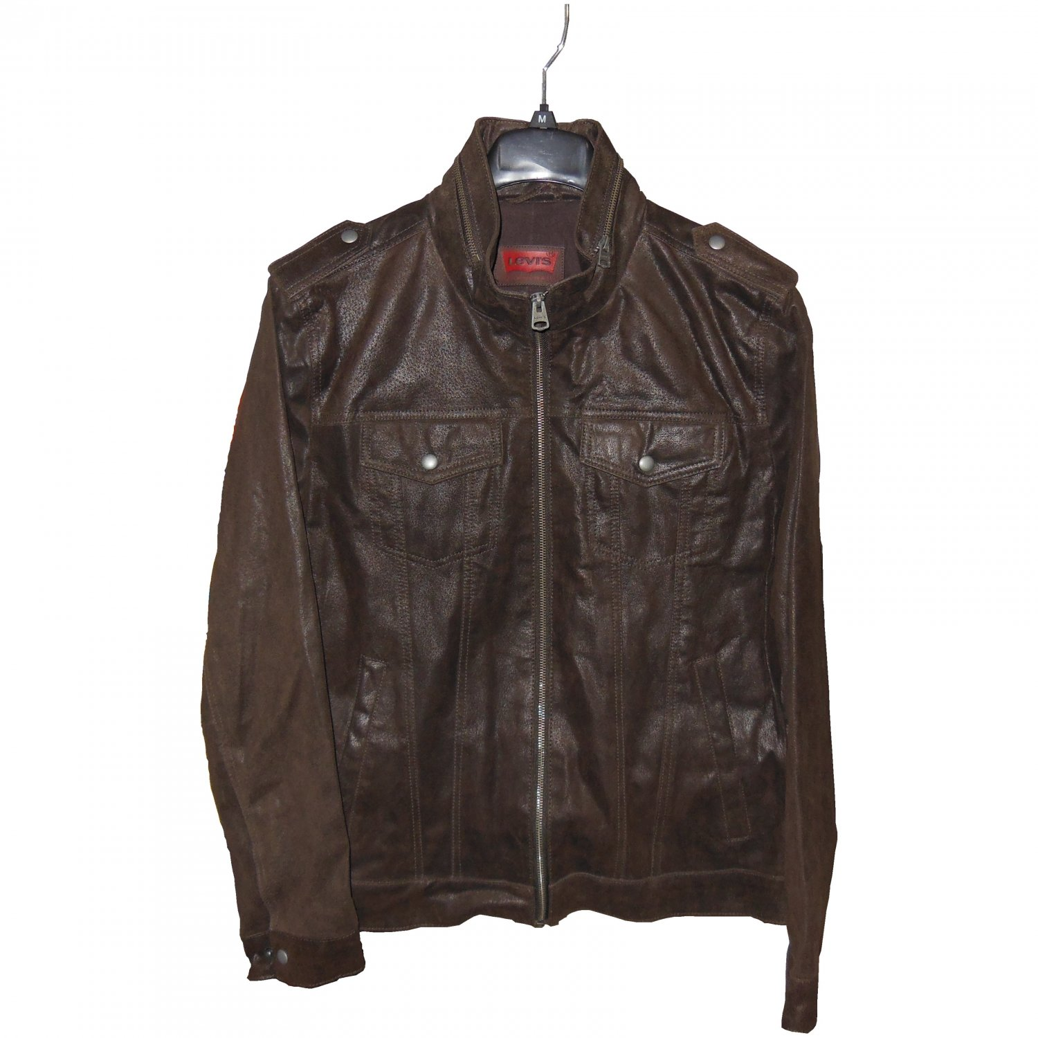 Levi's Zip Military Trucker 100% Leather Jacket Dark Brown LM3R6400, Large