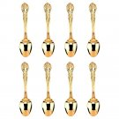 Gold Plated Demitasse Spoon Set for High Tea and Coffee, 8 pieces, Ornate pattern
