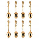 Gold Plated Demitasse Spoon Set for High Tea and Coffee, 8 pieces, Rose Pattern
