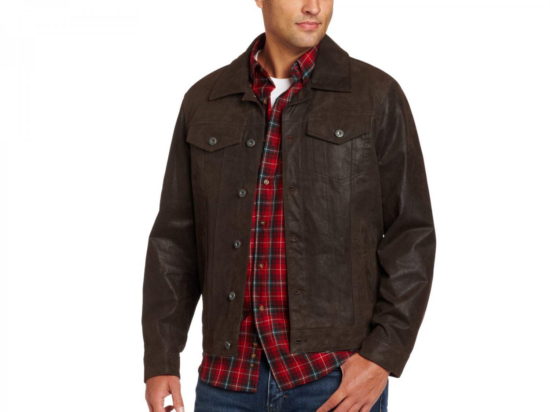Levi's Men's Shank Button Trucker 100% Leather Jacket XL Brown LM3R6402