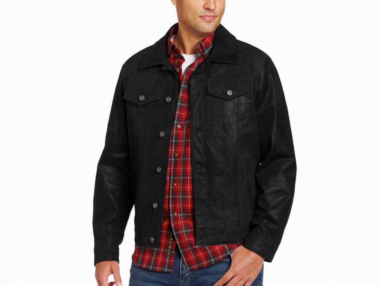 Levi's Men's Shank Button Trucker 100% Leather Jacket L Black LM3R6402