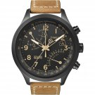Timex T2N700 IQ Fly Back Chronograph Watch Tan Leather/Black Intelligent Quartz