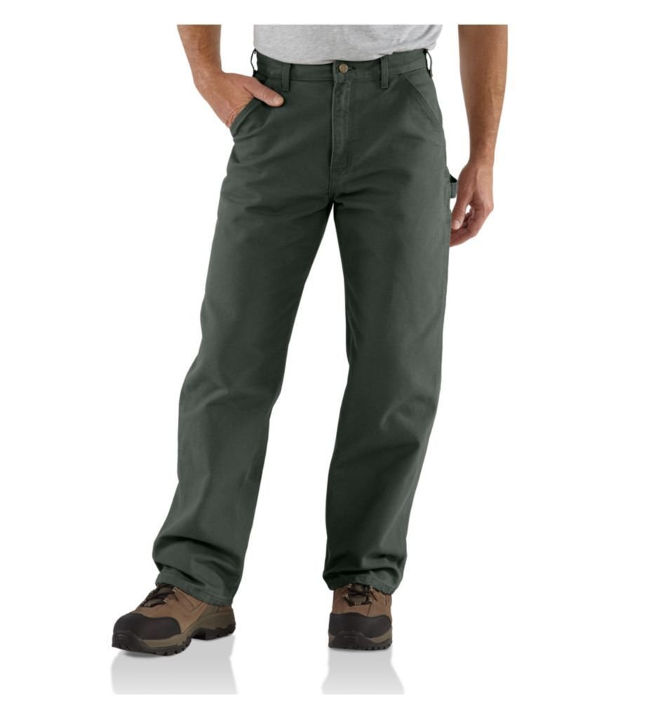 Carhartt Mens B11 Washed Duck Work Dungaree Pants 36 x 30 Moss Green