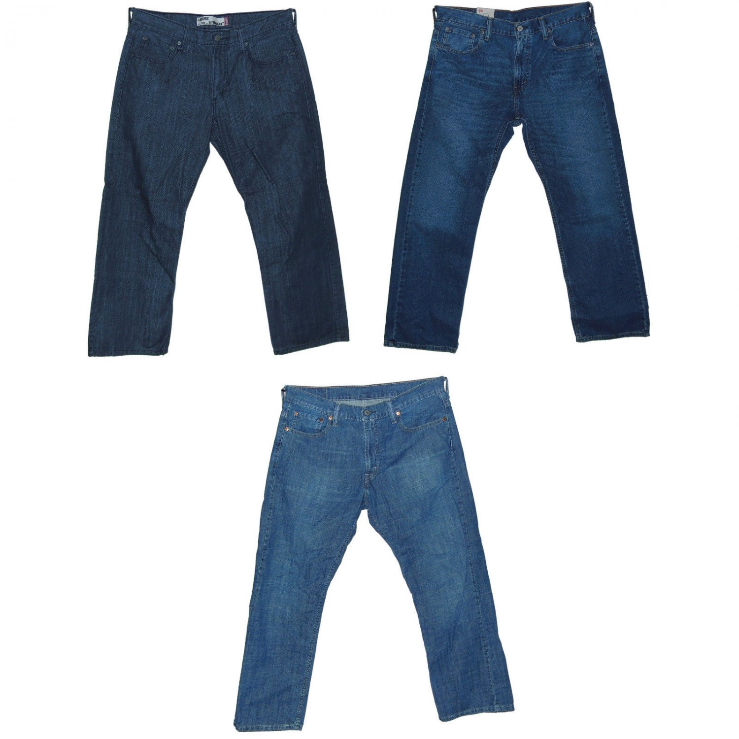 Levis 569 Mens Loose Straight Jeans 3-piece Lot 33 x 30 Indie Blue/Static/Grey