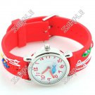 Cute Bright Quartz Wristwatch Watch with 3D Fish Patterned Rubber Band for Children Kids - Red Band