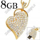 Fashionable Steel Heart Shaped 8GB USB Flash Memory Drive with Crystals - Golden