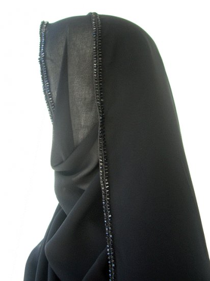 Large Black Hand-Embroidered &Studded Silk Hijab/Abaya