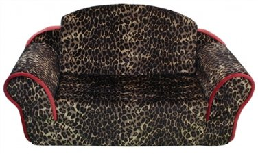 Leopard Print Pull Out Pet Sleeper Dog Bed Couch
