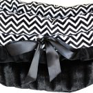 Pet Travel Carrier, Bed & Car Seat REVERSIBLE Black with Black Chevron