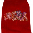 Pet Sweater DIVA Red with Color Rhinestones SIZE SMALL