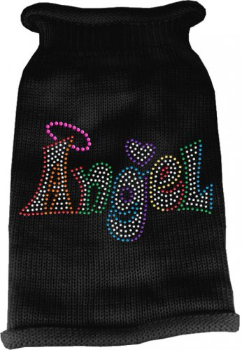 Dog Sweater ANGEL Black with Colorful Rhinestones SIZE SMALL