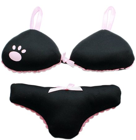 Dog Toy BIG MOMMA PANTY & BRA SET Noise Maker Black