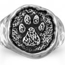 Fashion Ring Sterling Silver Paw Print Textured Jewelry - Sizes 6 - 10