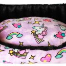 MEDIUM PET SNUGGLE BUMPER BED FULLY REVERSIBLE UNICORN IN PINK