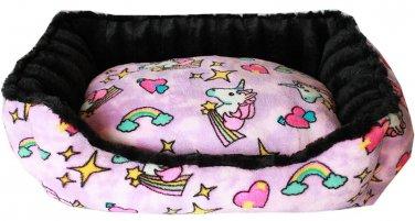 MEDIUM PET SNUGGLE BUMPER BED FULLY REVERSIBLE UNICORN IN PINK