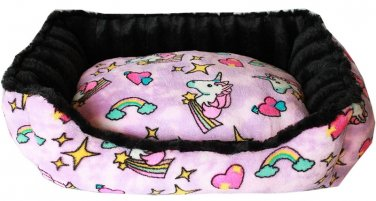 SMALL PET SNUGGLE BUMPER BED FULLY REVERSIBLE UNICORN IN PINK