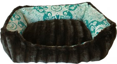 SMALL PET SNUGGLE BUMPER BED FULLY REVERSIBLE IN TEAL FLORAL SIZE