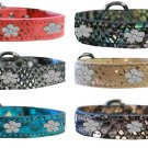 "Fancy LEATHER FLOWER CHARMS DOG COLLAR - SIZE Large 20""(13"" - 17"")"