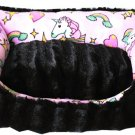 "LUXURY FAUX VELVET FULLY REVERSIBLE 18"" x 12"" PET BED UNICORN IN PINK"