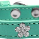 "NEW Silver Flowers Size XSmall (6.5"" - 8.5"")and Small (7.5"" - 10.5"") Faux Leather Dog Collars"