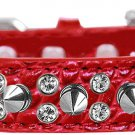"""NEW Sparkle and Spikes Size Medium (12"""" - 16"""") Faux Leather Croc Dog Collars MEDIUM"""