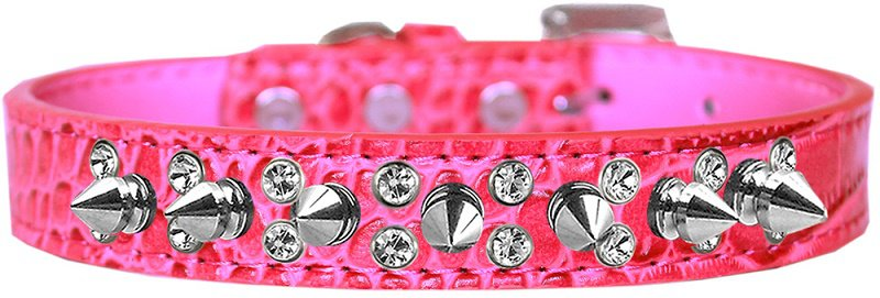 """NEW Sparkle and Spikes Size Large (14"""" - 18"""") Faux Leather Croc Dog Collars"""