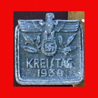 WWII German Tinnie -�Kreistag 1939�, Solid-Backed, Metal; Maker's Mark - 400-1939