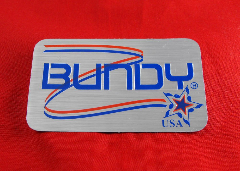 Genuine Bundy USA case decal logo -  self adhesive foil type emblem