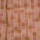 Vintage Retro Cotton Fabric Stripe Squares Orange Yellow Tan Dolls Bears Quilt