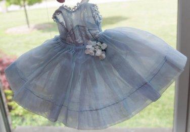"""Vtg 1950's Alexander Ginny Muffie 8"""" Fashion Doll Dress Lace Trim Blue Organdy"""
