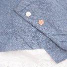 Vintage 60's 70's Cotton Fabric White Blue Tiny Calico Leaf Antique Bisque Dolls