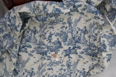 Vintage French Toile Fabric Blue Romantic Couples Cupids Sheep Doll Dress Quilti