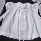 VTG 30's 40's Girls12-18 mo Dress Swiss Embroidery White COTTON Dimity Ric Rac