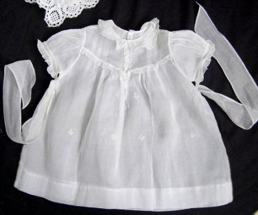 Vtg Girls Dress Cotton ORGANDY Embroidery size 24 months MINT White Sheer PEMAE