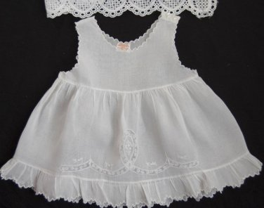 VTG Baby Girls Dress Slip Embroidery Shabby Chic French Lace Delicate Handmade