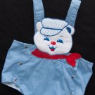 Vtg Baby Boys 60's Sunsuit Romper Train Engineer Bear Applique size 3 9 months