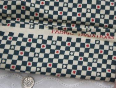 VTG Fabric Blue Ecru Check Stars Red Hearts Dolls Bisque Hitty Bears Unused