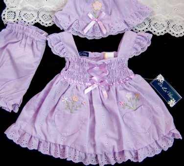 Baby Girls Dress Hat Outfit 12 mo Lavender Embroidery Smocked Eyelet Dolls NWT