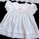 VTG Girls Dress Size 18 mo POLLY FINDERS Smocked Embroidered Purple White Floral