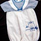 Baby Boys VTG Romper Bubble Size 12 months White Blue Striped Sailor Nautical