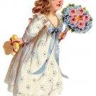 Vtg 50's Baby Girls Sun Dress Pinafore 12mo BLUE ORGANDY Embroidery Doll EUC