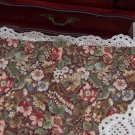 Vtg 70's Cotton1/2 yd Fabric Floral Print Brown Blue Rust Dolls Quilts Bears