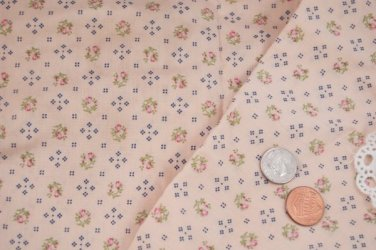 Vtg 60's 100% Cotton Fabric Floral Print Peach Blue Dolls Quilts Bears Unused