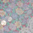Vtg 22x32 Cotton Floral Fabric Dusty Rose Blue White Yellow Dolls Bears Quilt