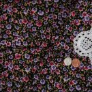 Vtg 70's Cotton Fabric Floral Pansies Print Purple Pink Black Dolls Quilts Bear