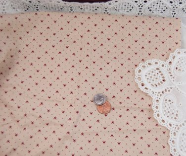 VTG 100% Cotton Calico Fabric Red Tan Hearts Dolls Bisque Hitty Quilts Unused